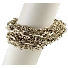 "Sterling Silver Tiered Rolo Ridged Cable Link Ornate Chain Bracelet 7.5""   [QWXS]"