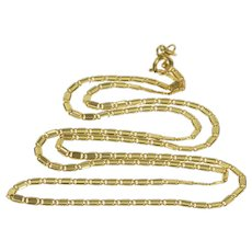 "14K 1.9mm Concave Bar Fancy Chain Link Necklace 18.5"" Yellow Gold  [QWXS]"