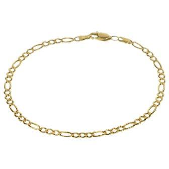 "14K 3.2mm Classic Figaro Link Fancy Chain Bracelet 7.9"" Yellow Gold  [QRXC]"