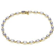 "14K Oval Tanzanite Prong Inset Fancy Tennis Bracelet 7"" Yellow Gold  [QWXS]"