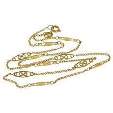 "14K 1.3mm Curb Link Fancy Filigree Link Necklace 15.5"" Yellow Gold  [QWXS]"