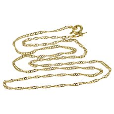 """14K 1.7mm Classic Rolling Twist Curb Link Necklace 17"""" Yellow Gold  [QWXS]"""