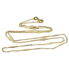 """14K 1.2mm Curb Link Chain Oval Cut Out Detail Necklace 18"""" Yellow Gold  [QWXP]"""
