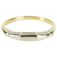 14K Two Tone Squared Edge Simple Wedding Band Ring Size 7.25 Yellow Gold [QWXP]