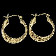 14K Squared Etched Tiered Twist Hollow Hoop Earrings Yellow Gold  [QRXC]