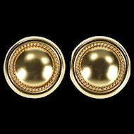 14K Rounded Rope Trim Design Post Back Statement Earrings Yellow Gold  [QRXC]