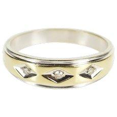 14K Three Stone Two Tone Diamond Men's Wedding Ring Size 11 Yellow Gold [QWXP]