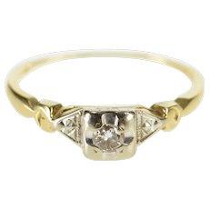 14K Diamond Three Stone Retro Engagement Ring Size 5.25 Yellow Gold [QWXP]