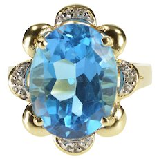 10K Oval Blue Topaz Floral Diamond Trim Cocktail Ring Size 6.75 Yellow Gold [QWXP]