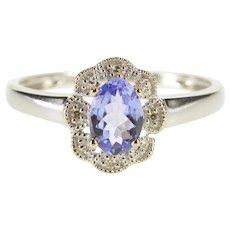 14K Tanzanite Diamond Halo Scalloped Floral Milgrain Ring Size 7 White Gold [QWXP]