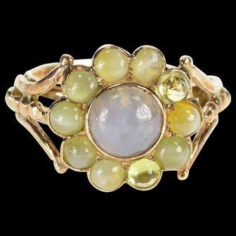 14K Round Moonstone Chrysoberyl Halo Ornate Ring Size 4.75 Yellow Gold [QWXP]