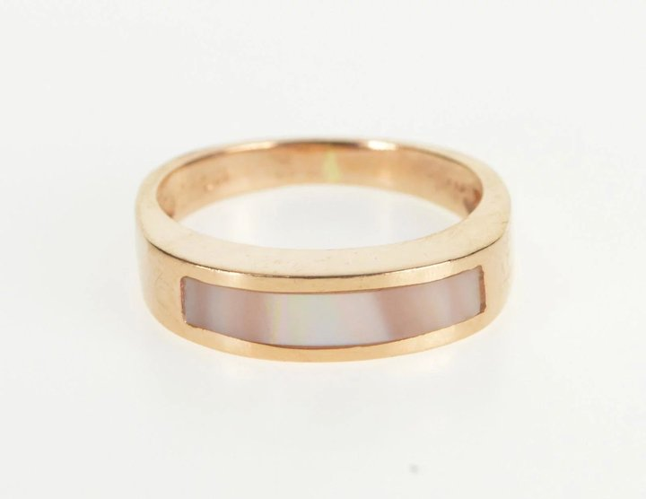 14K Pink Mother of Pearl Inlay Wedding Band Ring Size 4 Yellow Gold ...