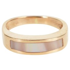 14K Pink Mother of Pearl Inlay Wedding Band Ring Size 4 Yellow Gold [QWXP]