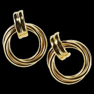 14K Round Layered Spiral Twist Post Back Earrings Yellow Gold  [QRXC]