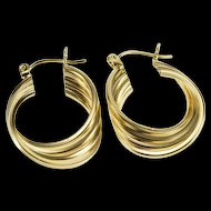 14K Squared Tiered Design Twist Hoop Earrings Yellow Gold  [QRXC]