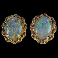 14K Oval Syn. Opal Doublet Rope Trim Stud Earrings Yellow Gold  [QRXC]