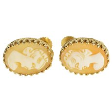14K Carved Shell Cameo Oval Screw Back Earrings Yellow Gold  [QWXP]