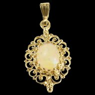 Gold Filled Oval Syn. Opal Scroll Swirl Trim Ornate Pendant   [QRXC]