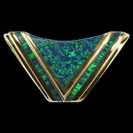 14K Ornate Chevron Pointed Syn. Black Opal Inlay Pendant Yellow Gold  [QRXC]