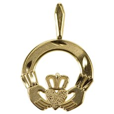 14K Loyalty Claddagh Celtic Traditional Irish Charm/Pendant Yellow Gold  [QRXC]