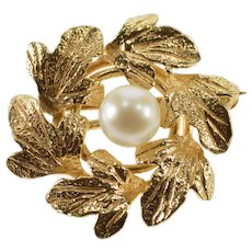 14K Pearl Inset Leaf Wreath Round Nature Motif Pin/Brooch Yellow Gold  [QWXP]