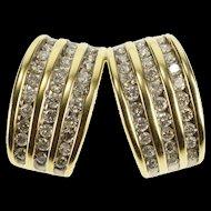 14K 1.20 Ctw Diamond Channel Encrusted Split Design Pendant Yellow Gold [QRXP]
