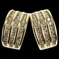 14K 1.20 Ctw Diamond Channel Encrusted Split Design Pendant Yellow Gold  [QRXC]