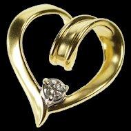 14K 0.13 Ct Diamond Solitaire Inset Spiral Heart Design Pendant Yellow Gold [QRXP]