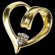14K 0.13 Ct Diamond Solitaire Inset Spiral Heart Design Pendant Yellow Gold  [QRXC]