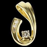 14K 0.20 Ctw Diamond Inset Curve Hooked Design Pendant Yellow Gold [QRXP]