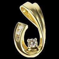14K 0.20 Ctw Diamond Inset Curve Hooked Design Pendant Yellow Gold  [QRXC]