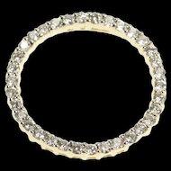 14K 1.02 Ctw Diamond Encrusted Ring Circle Loop Pendant Yellow Gold  [QRXC]