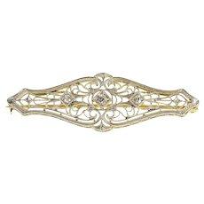 14K 0.22 Ctw Ornate Diamond Scroll Filigree Bar Pin/Brooch Yellow Gold [QRXP]
