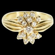 14K 0.50 Ctw Diamond Grooved Accent Engagement Ring Size 5.5 Yellow Gold [QRXP]