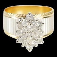 14K 1.20 Ctw Pointed Oval Peg Cluster Two Tone Ring Size 5.75 Yellow Gold [QRXP]