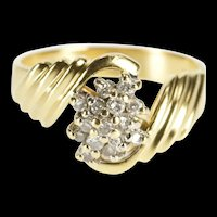 14K Diamond Inset Cluster Grooved Freeform Wavy Ring Size 6.5 Yellow Gold [QRXP]