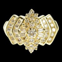 14K 0.99 Ctw Diamond Encrusted Pointed Cluster Ring Size 7 Yellow Gold [QRXP]