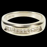 14K 0.25 Ctw Channel Diamond Inset Wedding Band Ring Size 10.5 White Gold [QRXC]