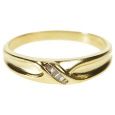 14K 0.15 Ctw Diamond Baguette Wavy Wedding Band Ring Size 9.75 Yellow Gold [QRXC]