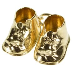 14K 3D Baby Child's Tennis Shoe Sneaker Charm/Pendant Yellow Gold [QRXP]