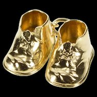 14K 3D Baby Child's Tennis Shoe Sneaker Charm/Pendant Yellow Gold  [QRXC]