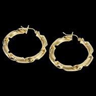 14K Textured Corkscrew Twist Fancy Hoop Earrings Yellow Gold  [QRXC]