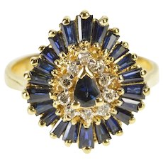 14K 1.98 Ctw Pear Sapphire Wavy Halo Engagement Ring Size 5.5 Yellow Gold [QWXP]