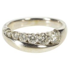 14K 0.92 Ctw Graduated Diamond Wedding Band Ring Size 7.25 White Gold [QWXP]