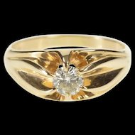 14K 0.43 Ct Round Diamond Solitaire Belcher Engagement Ring Size 8 Yellow Gold [QRXP]