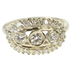 14K 1.00 Ctw Diamond Three Stone Halo Engagement Ring Size 9.5 White Gold [QWXP]