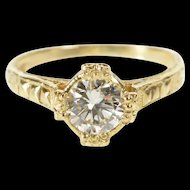 14K 0.62 Ctw Diamond Solitaire Ornate Engagement Ring Size 4.5 Yellow Gold [QRXP]