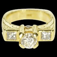 18K 1.55 Ctw Ornate Scroll Diamond Engagement Ring Size 5.25 Yellow Gold [QRXP]