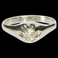 18K 0.60 Ct Round Solitaire Diamond Engagement Ring Size 5.3 White Gold [QRXP]