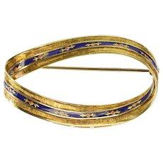 18K Twist Floral Fleur De Lis Pattern Blue Enamel Pin/Brooch Yellow Gold  [QRXC]